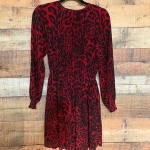 Michael Kors red and black print mini dress, small